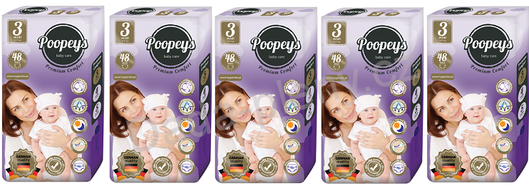 Plenky Poopeys 3 Midi 48ks 4-9kg - SET 5ks
