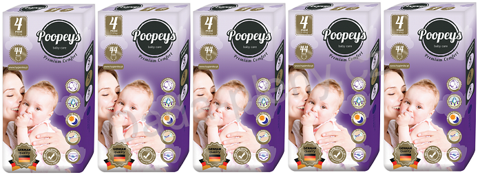 Plenky Poopeys 4 Maxi 44ks 7-18kg - SET 5ks